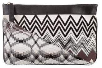Missoni Woven Leather-Trimmed Zip Pouch