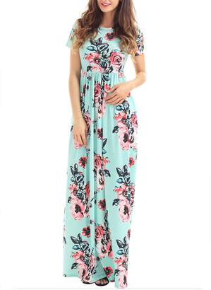Greenis Summer Women Dress Maxi Floral Printed Cotton Long Sleeves White