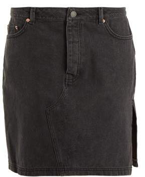 Raey Side Split Denim Skirt - Womens - Black