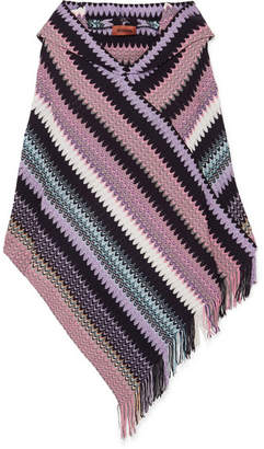 Missoni Hooded Fringed Crochet-knit Poncho - Purple