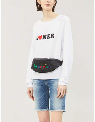 Wildfox Couture 'Loner' print round-neck fleece sweatshirt