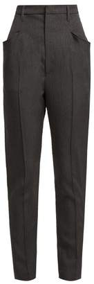 Isabel Marant Raynor High Rise Wool Trousers - Womens - Dark Grey