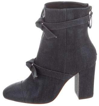 Alexandre Birman Denim Round-Toe Ankle Boots
