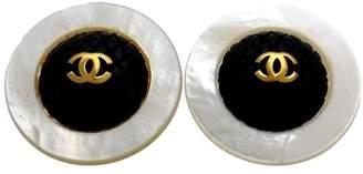 Chanel CC Logo Gold Tone Metal Round Black White Earrings