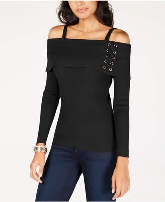 Thalia Sodi Lace-Up Off-The-Shoulder Sweater