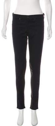 Rag & Bone Mid-Rise Leather Panel Skinny Jeans