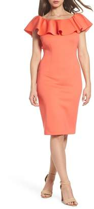Eliza J Off the Shoulder Ruffled Sheath Dress