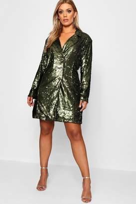 boohoo Plus Boxy Sequin Blazer Dress
