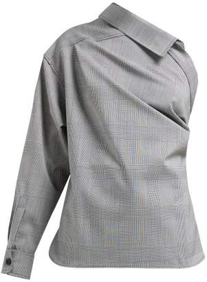 Max Mara Pepaia One Shoulder Plaid Blouse - Womens - Black White