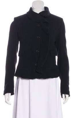 Burberry Ruffle Trim Wool Jacket