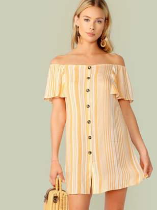 Shein Off Shoulder Ruffle Trim Button Front Striped Dress
