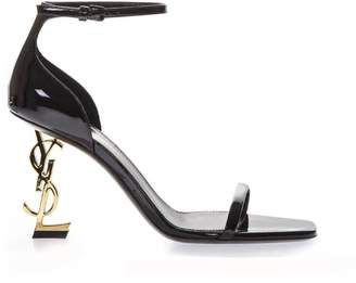 Saint Laurent Black Patent Leather Sandals With Logo Heel