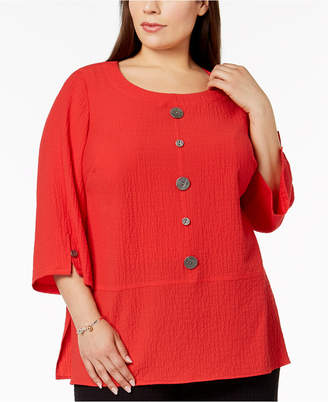 JM Collection Plus-Size Crinkled Button-Detail Top