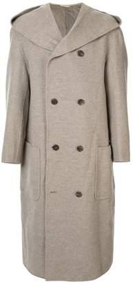 Issey Miyake Pre-Owned hooded wool overcoat