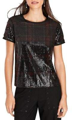 Brooks Brothers Red Fleece Short Sleeve Sequin Blouse