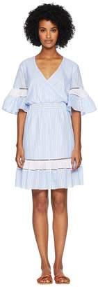 Jonathan Simkhai Striped Cotton Wrap Mini Dress Cover-Up Women's Swimwear