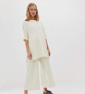 Monki co-ord ribbed wide leg pants in off white