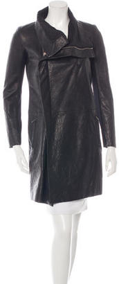 Rick Owens Leather Knee-Length Coat $985 thestylecure.com