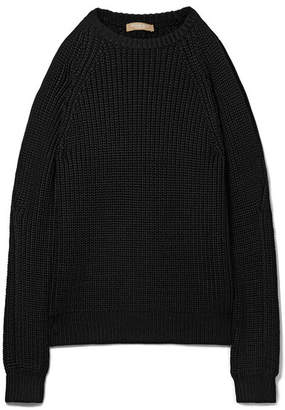 Cold-shoulder Ribbed-knit Sweater - Black