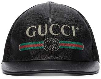 Gucci black logo print grained leather baseball cap