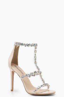 boohoo Patent Embellished Cage Sandals
