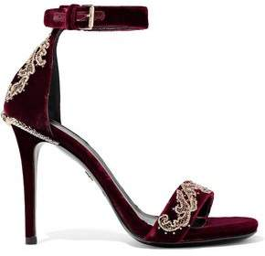Roberto Cavalli Embellished Velvet Sandals