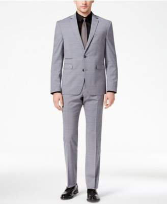 Vince Camuto Men's Slim-Fit Stretch Medium Gray Windowpane Suit