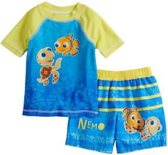 0d437c2e41 Disney / Pixar Finding Nemo Baby Boy Raglan Rash Guard Top & Striped Swim  Trunks