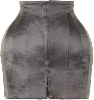 Balmain Structured satin mini skirt