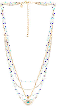 Rebecca Minkoff Layered Beads Evil Eye Necklace