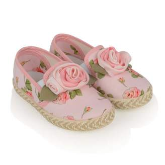 MonnaLisa MonnalisaGirls Pink Rose Applique Shoes