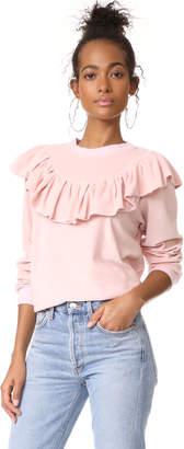 Clu Clu Too Ruffle Trimmed Sweatshirt $178 thestylecure.com