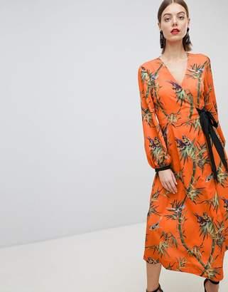 Warehouse Barbican Collection Songbird Print Wrap Dress