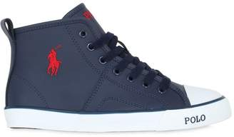 Ralph Lauren Embroidered Logo Leather Sneakers