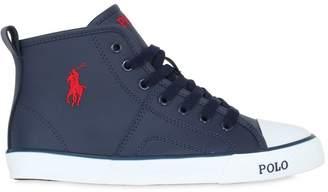 Ralph Lauren (ラルフ ローレン) - Ralph Lauren Childrenswear Embroidered Logo Leather Sneakers