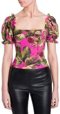 Dolce & Gabbana Ruffle Sleeve Fig Print Top