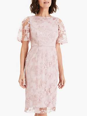 Phase Eight Harlow Sequin Lace Dress, Dusty Rose