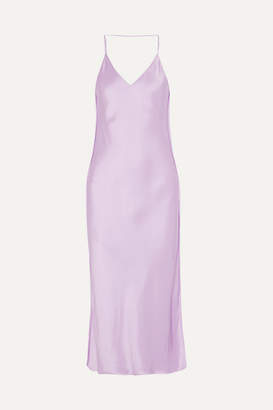 Helmut Lang Silk-trimmed Satin Midi Dress - Lilac