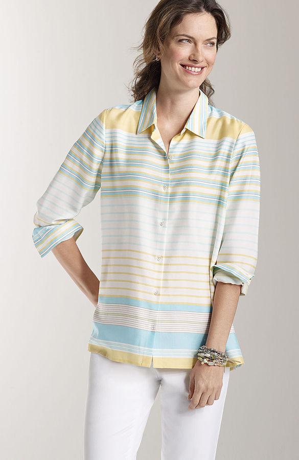 J. Jill Washable silk striped shirred-back shirt