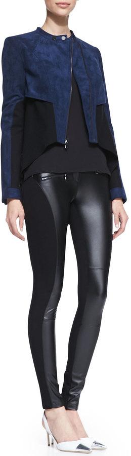 BCBGMAXAZRIA Logun Colorblock Faux-Suede Jacket