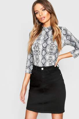 boohoo Button Top High Waist Denim Skirt