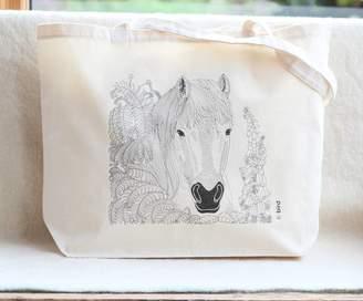 Bird Horse Print Canvas Shopper Bag