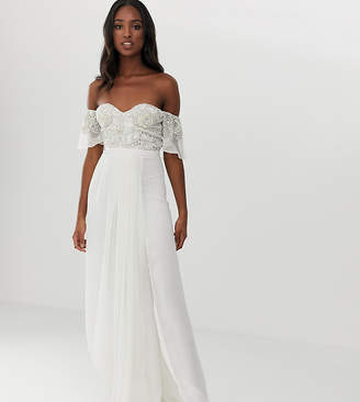 bbf4b67cf79ce Virgos Lounge Tall off shoulder embellished top maxi dress with pleated  skirt in ecru