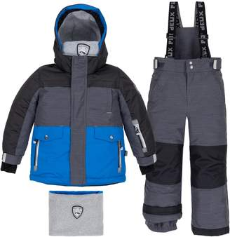 Deux Par Deux Little Boy's Snow In The City 2-Piece Water-Repellent Faux Fur-Trim Jacket, Snowsuit Neck Warmer Set