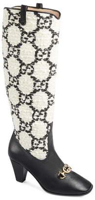 Gucci Zumi GG Tweed Knee High Boot