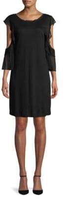 French Connection Ruffle-Sleeve Cold-Shoulder Shift Dress