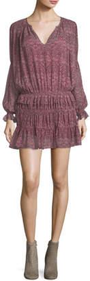 Joie Snow Split-Neck Printed Chiffon Dress