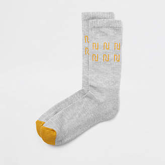 River Island Grey RI contrast tube socks