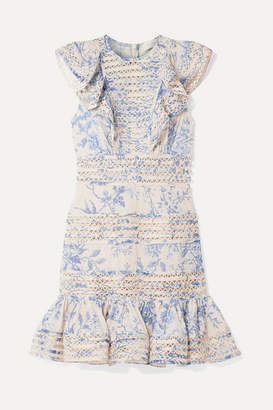 Zimmermann Verity Lace-trimmed Floral-print Fil Coupé Cotton Mini Dress - Blue