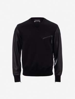 Alexander McQueen Leather Patchwork Sweatshirt